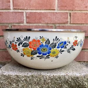 Kobe Enamelware Stainless Trim DECOR Floral Bowl